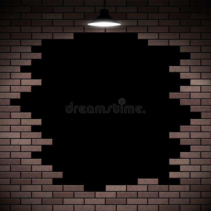 Buco nero nel muro di mattoni azione illustrazione vettoriale