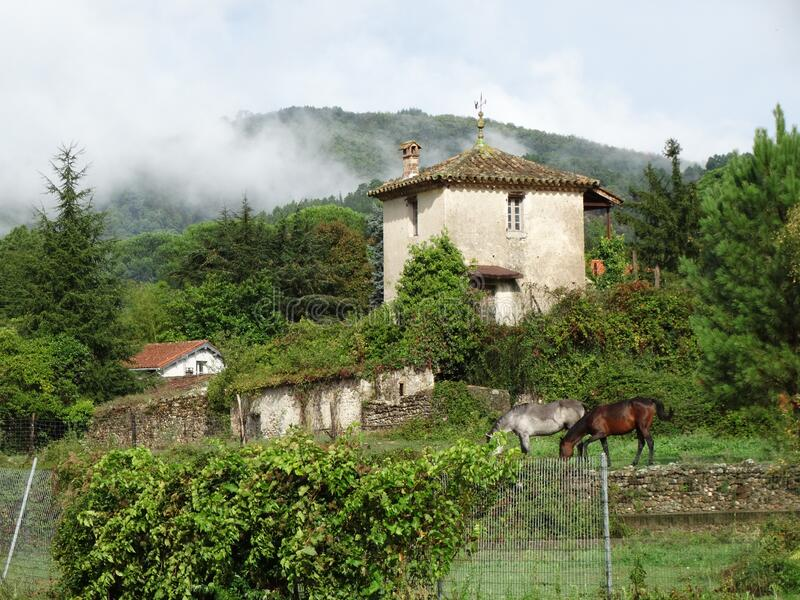 Bucolic landscape of the Cevennes in France with horses and typical house. Bucolic landscape of the Cevennes in France, fog with horses and typical house stock photo