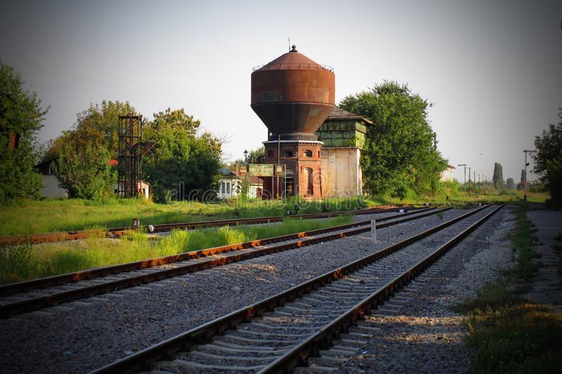 Bucuresti - Giurgiu - die erste Eisenbahn von Rumänien-Gebiet stockbild