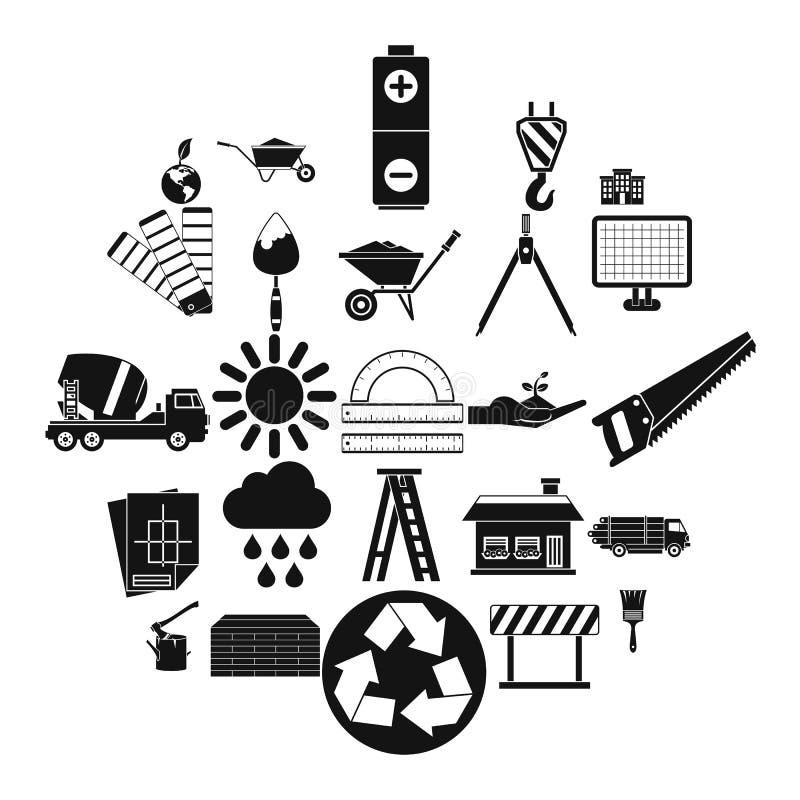 Budów ikony ustawiać, prosty styl ilustracji