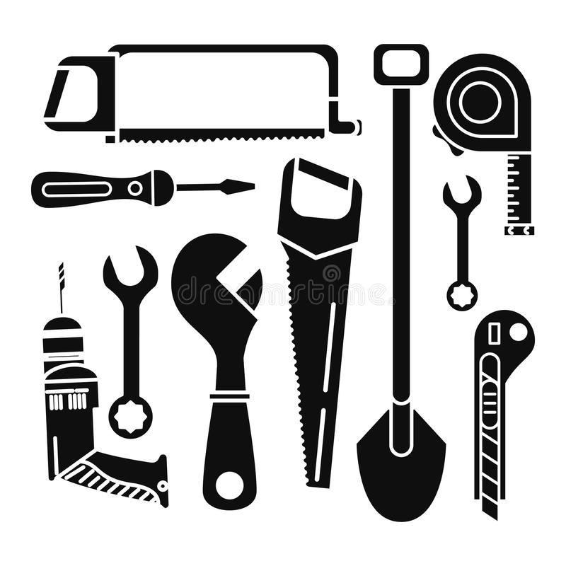 Budów narzędzi ikony set ilustracja wektor