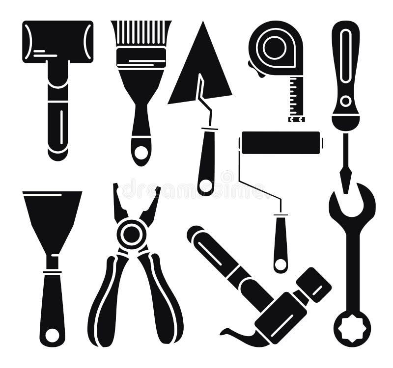 Budów narzędzi ikony set ilustracji