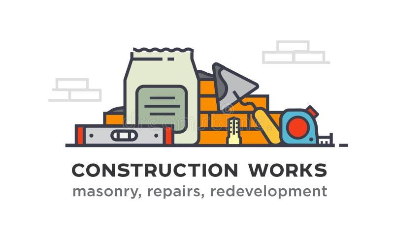Budów narzędzia, budowa ściany ilustracji