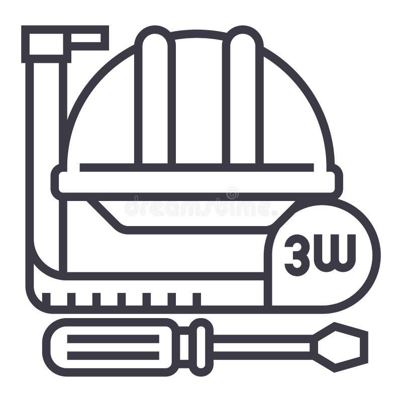 Budów narzędzia, metr, ciężki kapelusz, młot, śrubokrętu wektoru linii ikona, znak, ilustracja na tle, editable ilustracja wektor