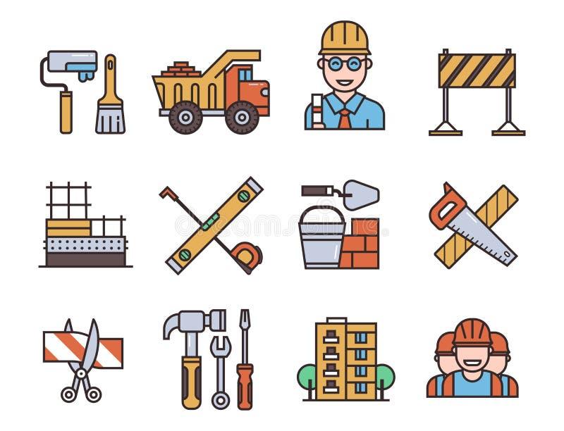 Budów wektorowych liniowych ikon budynku ogólnoludzcy elementy i pracownika wyposażenia przemysłu płascy narzędzia ilustracyjni ilustracja wektor