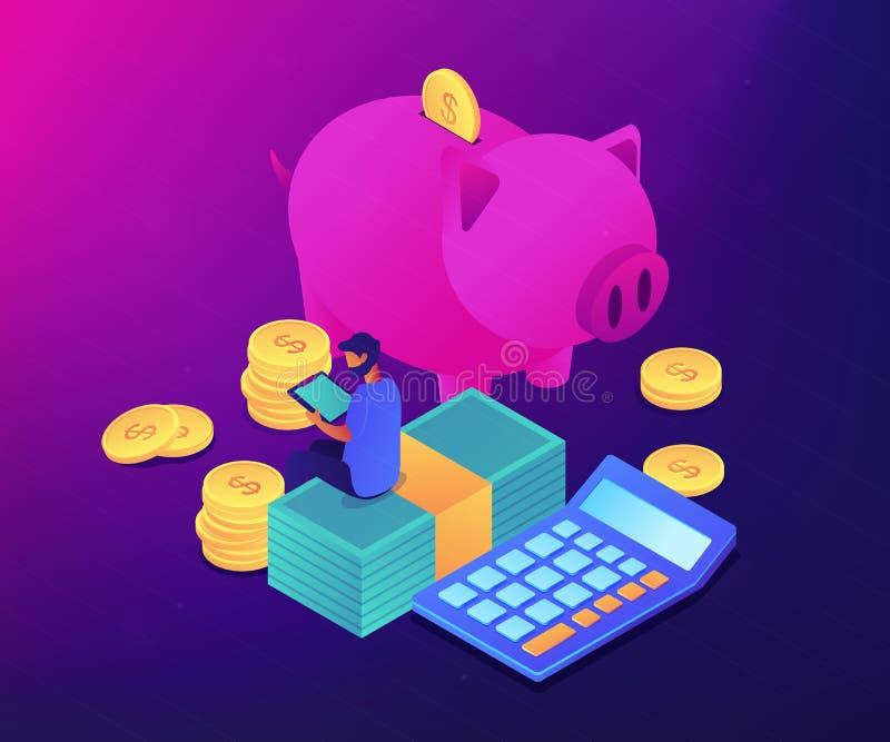 Budżet kontroli app 3D pojęcia isometric ilustracja royalty ilustracja