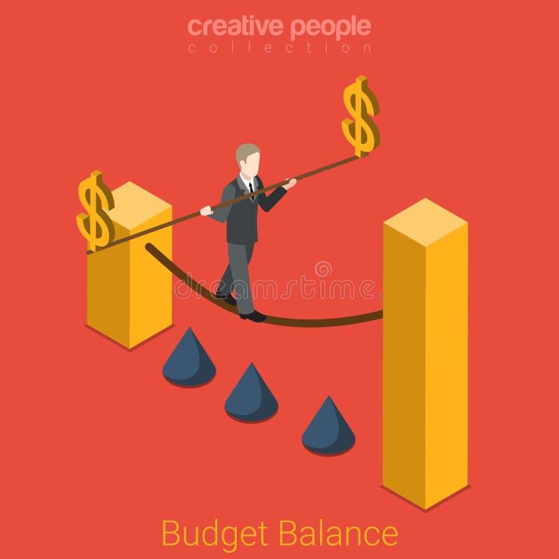 Budżet równowagi finanse mieszkania 3d dolarowy biznesowy wektor isometric royalty ilustracja