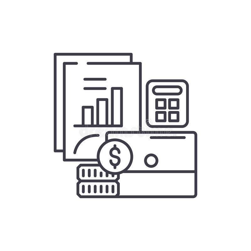 Budżeta planowania linii ikony pojęcie Budżetuje planistyczną wektorową liniową ilustrację, symbol, znak ilustracja wektor