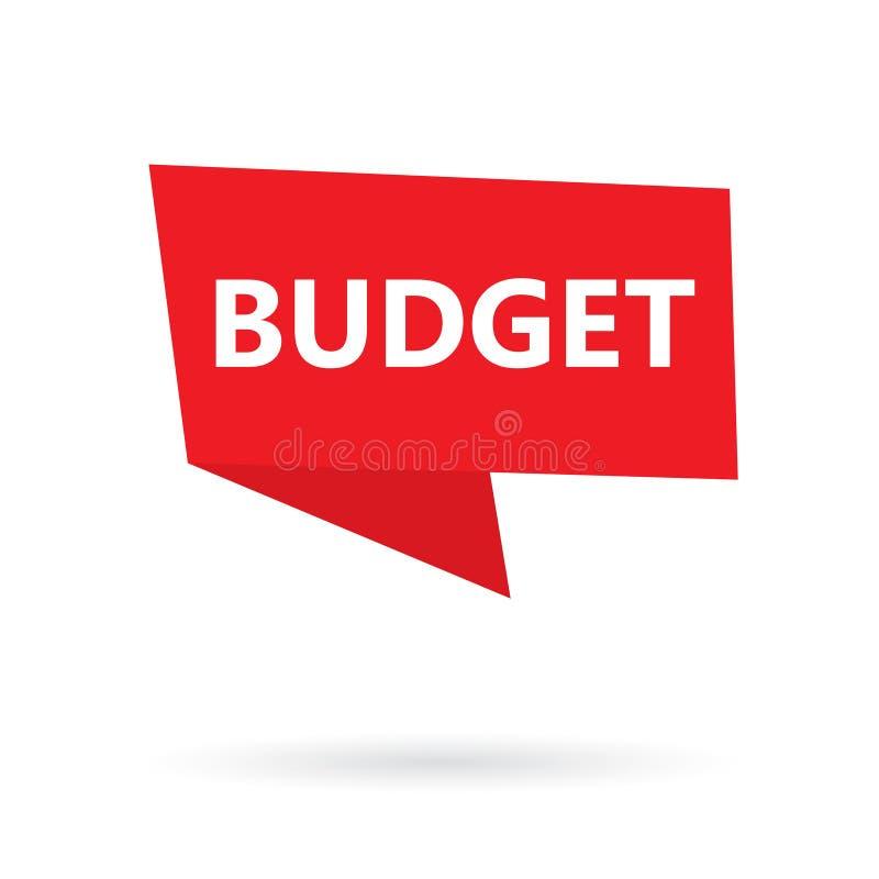 Budżeta słowo na majcherze ilustracji