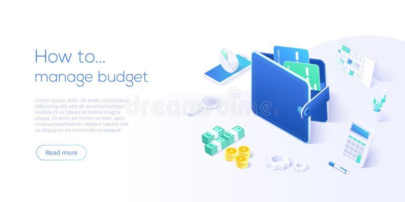 Budżeta zarządzania pojęcie w isometric wektorowej ilustracji Pieniądze gospodarki tło z billfold i kalkulatorem Zysk lub ilustracji