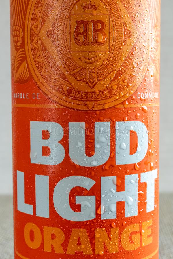 Bud Light Orange with droplets of water stock images