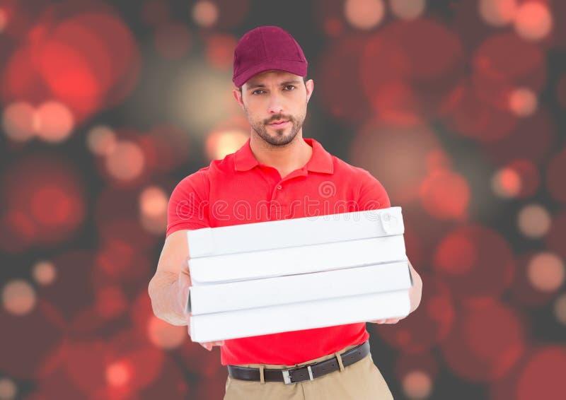 Bud med pizzaaskar Rött; tänder bakground royaltyfria bilder