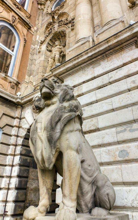 buda布达佩斯城堡监护人匈牙利狮子 库存图片