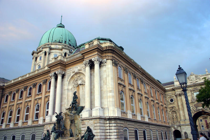 Buda castle. (Hungarian: Budavári Palota, German: Burgpalast, Turkish: Budin Kalesi) is the historical castle and palace complex of the Hungarian kings in royalty free stock photo