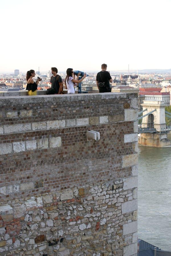 Buda Castle, Boedapest - vooruitzichttoren/belvedere punt stock afbeelding
