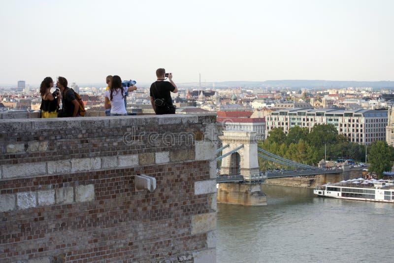 Buda Castle, Boedapest - vooruitzichttoren/belvedere punt royalty-vrije stock afbeeldingen