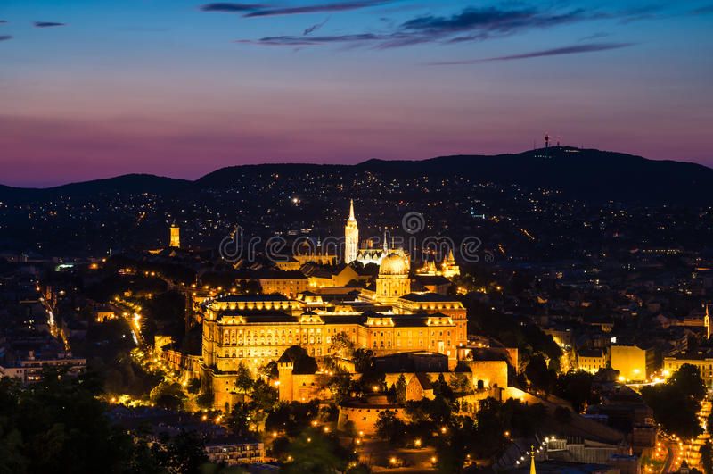 Buda Castle, Budapest dusk view royalty free stock images