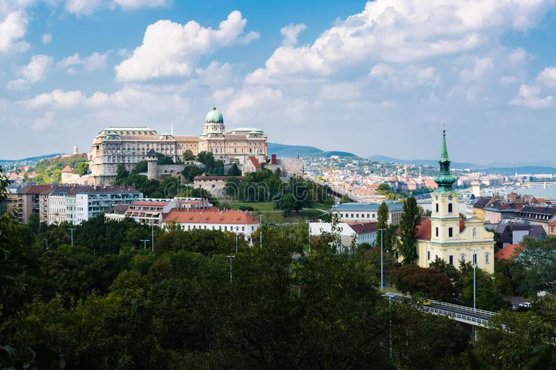 Buda Castle in Budapest, Hungary. The famous Buda Castle in Budapest in Hungary on a beautiful day with blue sky and only a few clouds royalty free stock photos