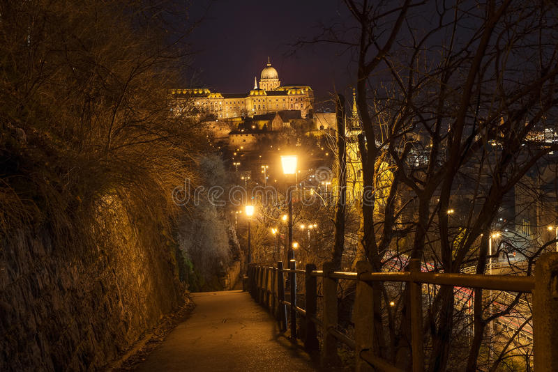 Buda Castle in Budapest. Buda Castle at night in Budapest view from the Gellert Hill royalty free stock images