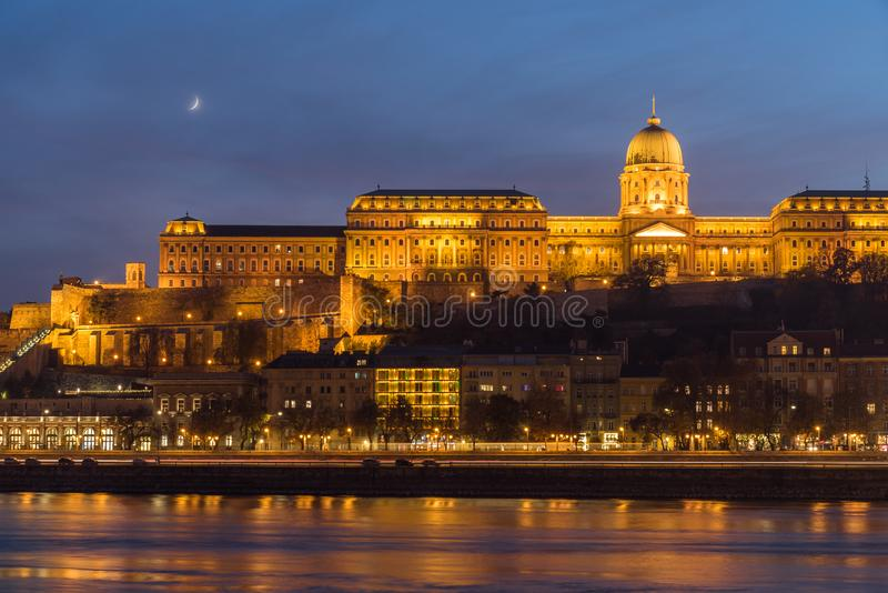 Buda Castle and the Danube River at Night, Budapest, Hungary. Illuminated Buda Castle with the Danube River in Budapest at night, Hungary, Europe royalty free stock photo