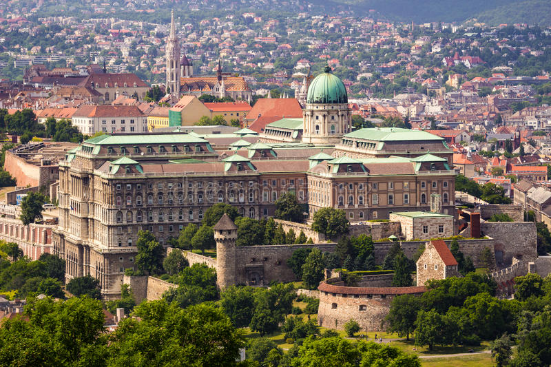 Buda Castle from elevated view. Buda Castle in Budapest from elevated view from Gellert Hill at daytime royalty free stock photography