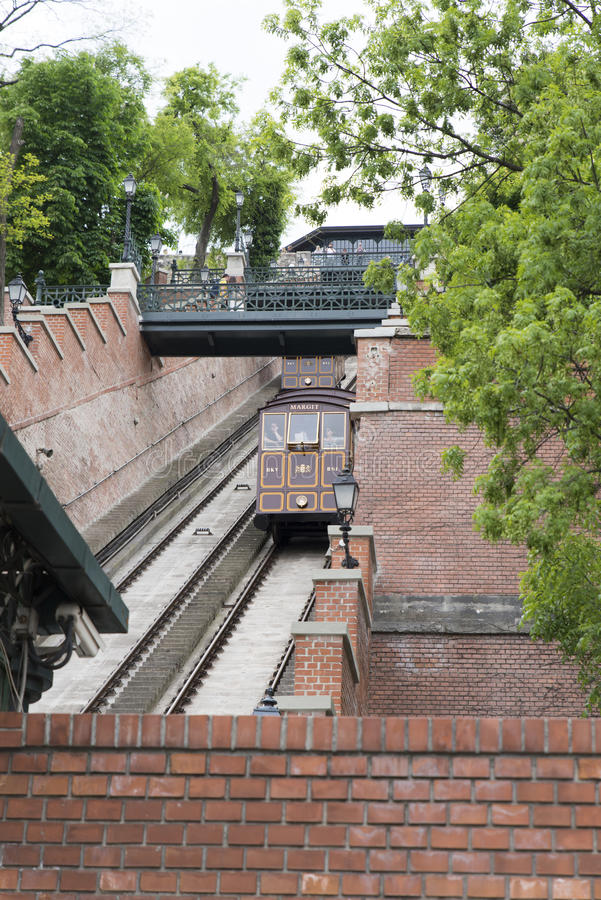 Buda castle funicular royalty free stock photography