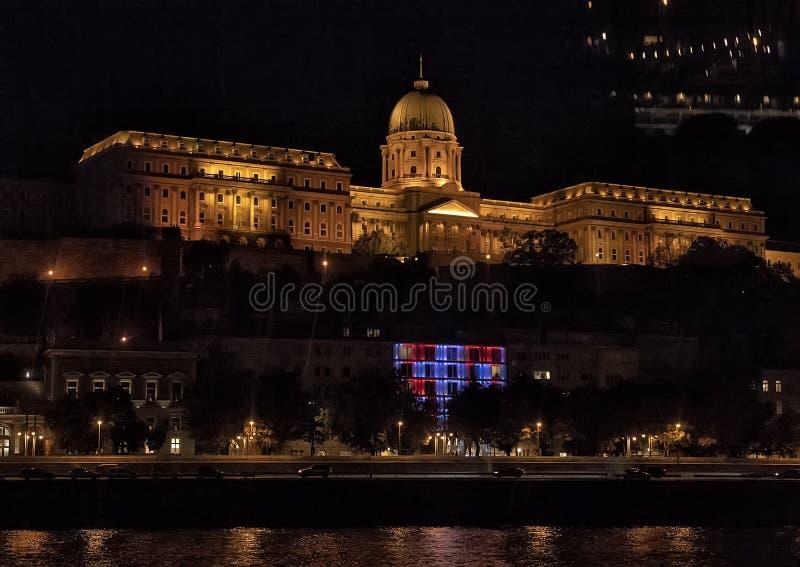 Buda Castle Hill nachts, Budapest, Ungarn stockfoto