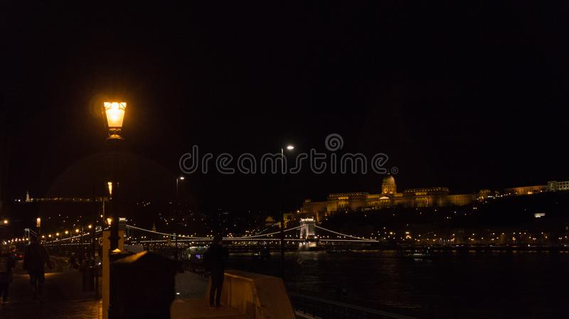 The Buda Castle Quarter with the Chain Bridge in the evening stock photo
