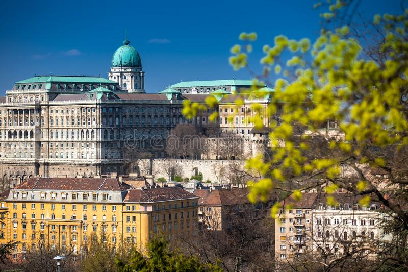 Buda Castle seen from the Garden of Philosophy royalty free stock photography