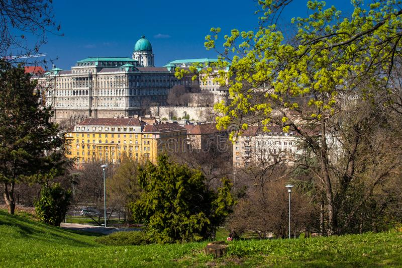 Buda Castle seen from the Garden of Philosophy royalty free stock image