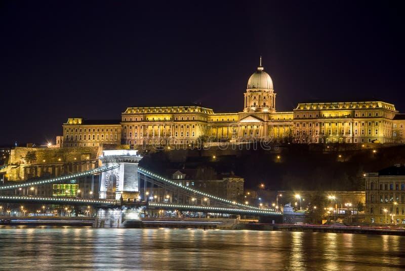 Buda Castle and The Szechenyi Chain Bridge, Budapest, Hungary. royalty free stock photography