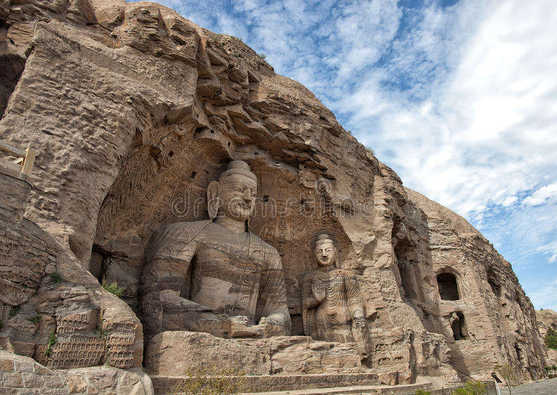 Buda, cavernas do yungang foto de stock royalty free