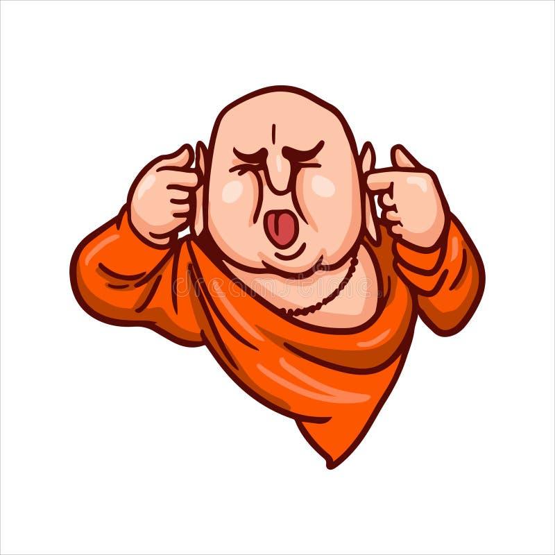 A Buda cobriu suas orelhas e colou para fora sua língua Feche acima o símbolo imagem de stock