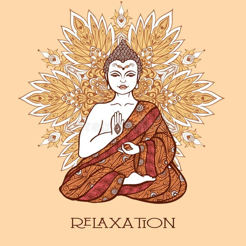 Buda com mandala decorativa ilustração royalty free
