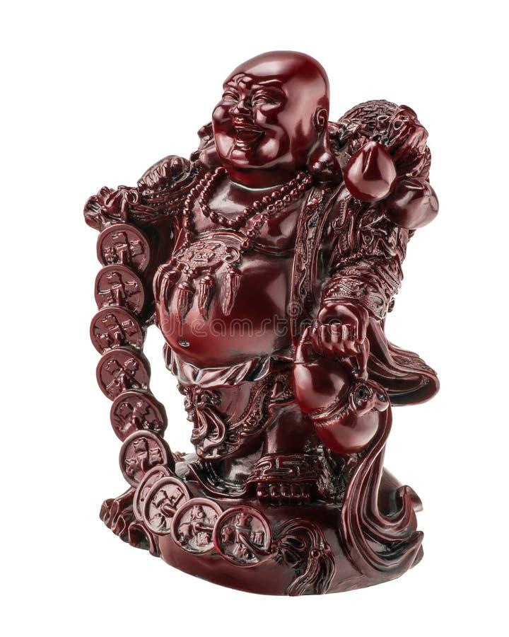 Buda da estatueta, Budai ou Hotei de riso, símbolo do shui do feng foto de stock