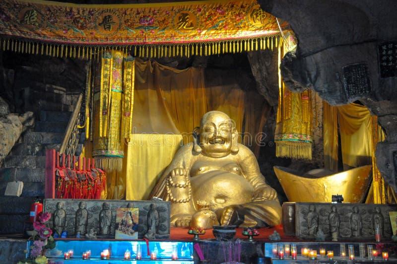 Buda de risa de oro foto de archivo libre de regalías