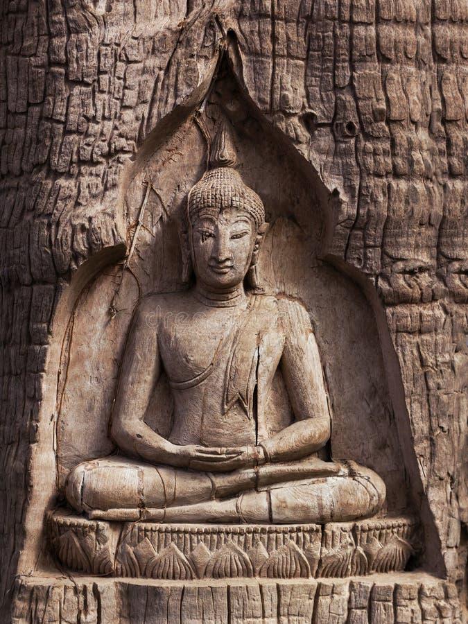 Buda de talla de madera en el tronco del árbol fotografía de archivo