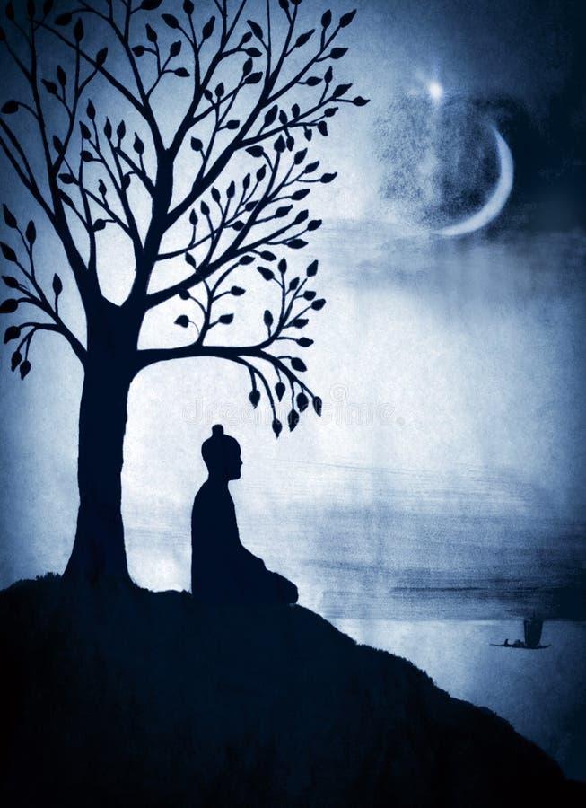 Buda debajo del árbol de Bodhi ilustración del vector