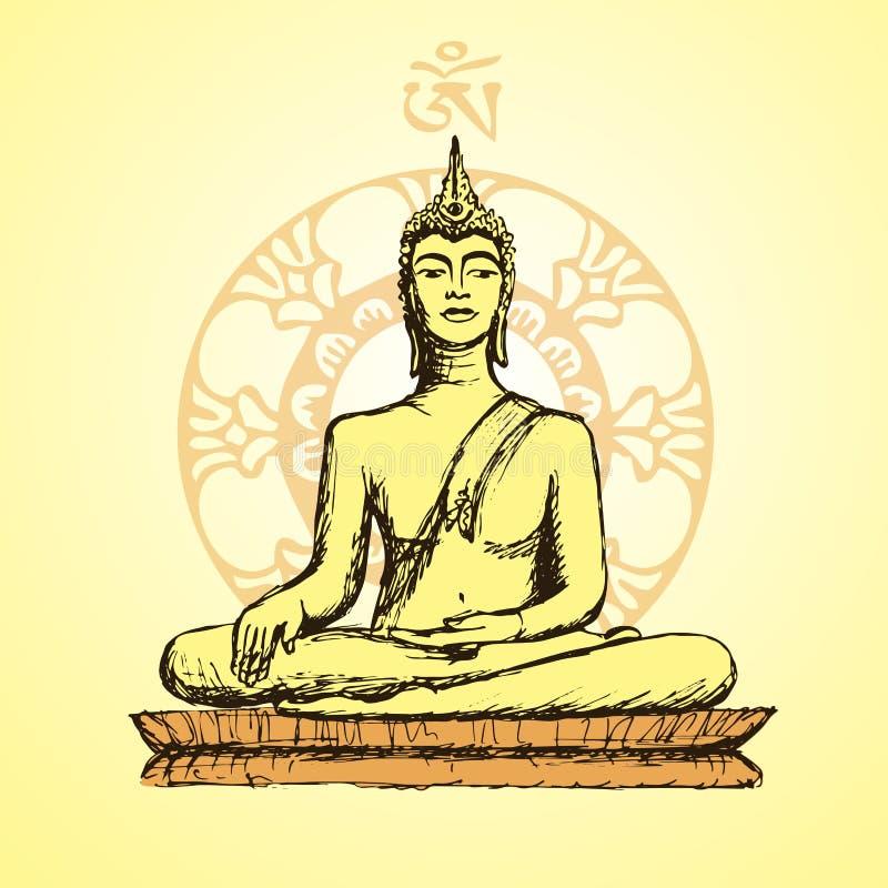 Buda dibujado mano en la meditación ilustración del vector