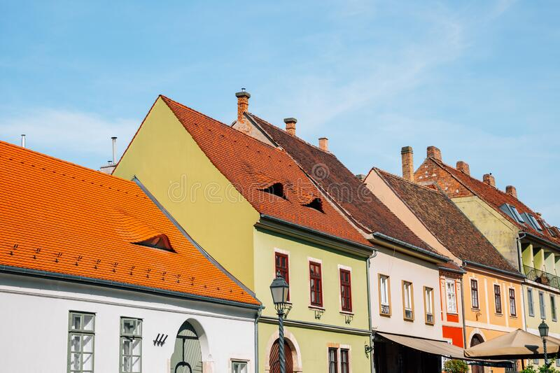 Buda district medieval old houses in Budapest, Hungary. Europe royalty free stock images