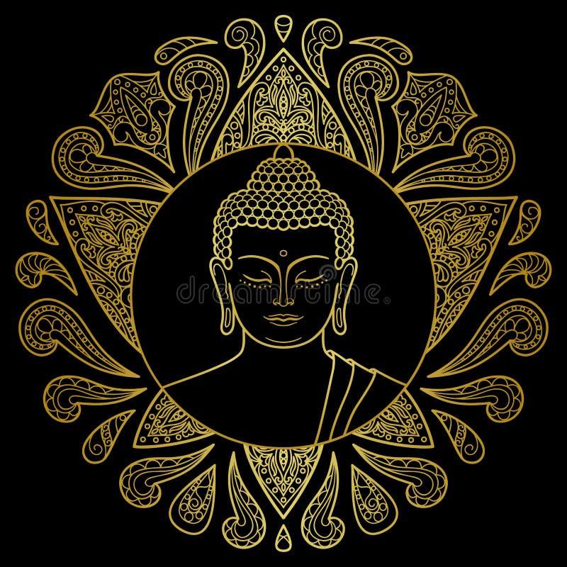 Buda do ouro com Lotus ilustração royalty free