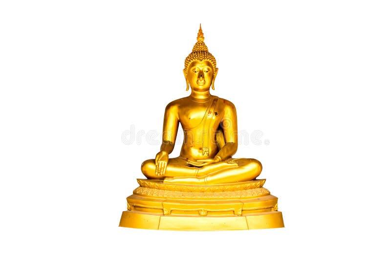 Buda dourada da bênção isolada no fundo branco fotos de stock