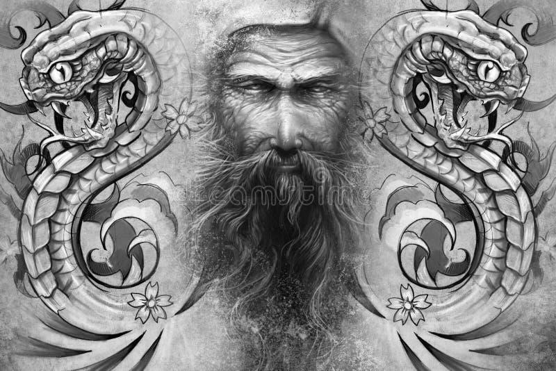 Buda e serpentes. Projeto da tatuagem ilustração stock