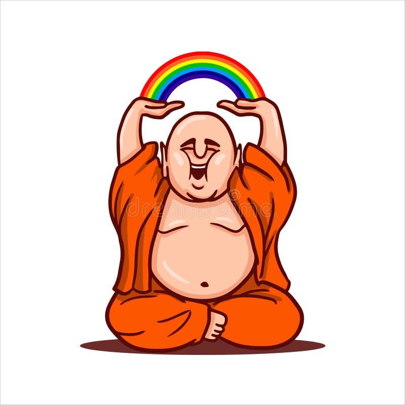 A Buda engraçada senta-se em uma posição de lótus, sorri-se e guarda-se um arco-íris sobre sua cabeça fotografia de stock royalty free