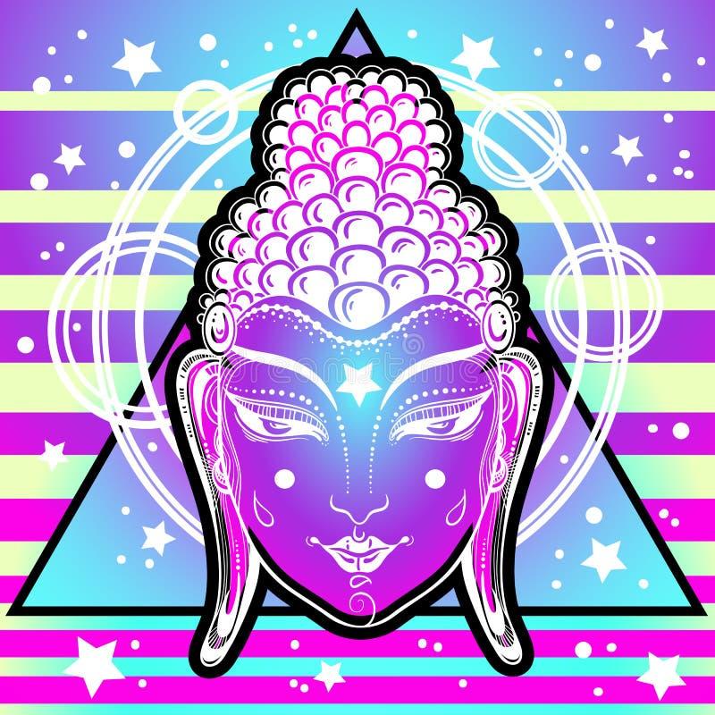 Buda extraordinario hace frente en los colores de neón sobre geometría sagrada y fondo vibrante cósmico Aclaración, transformació stock de ilustración