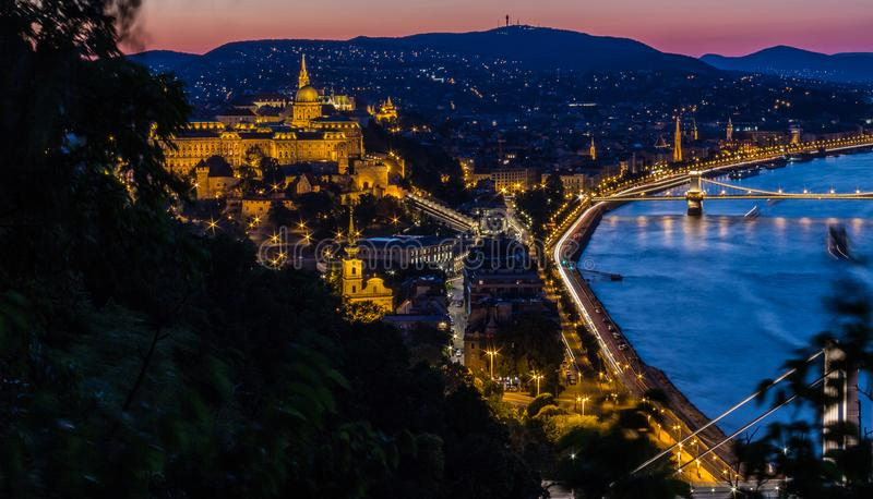 Buda from Gellert Hill - Budapest - Hungary royalty free stock photography