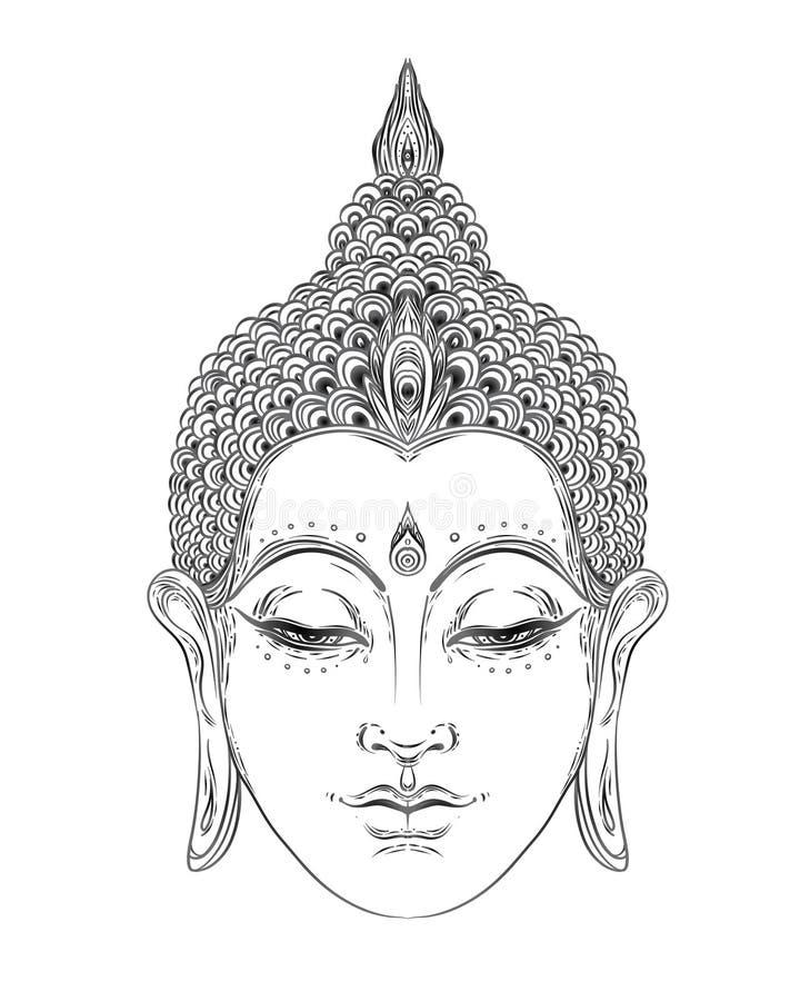 Buda hace frente aislado en blanco Ejemplo esotérico del vintage Indio, budismo, arte espiritual Tatuaje del hippie, espiritualid libre illustration