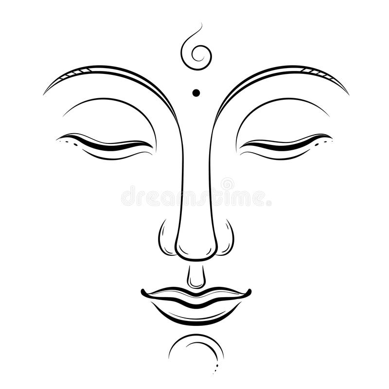 Buda hace frente a arte del vector Budismo, yoga, espiritual sagrado, dibujo de la tinta del zen aislado en blanco ilustración del vector