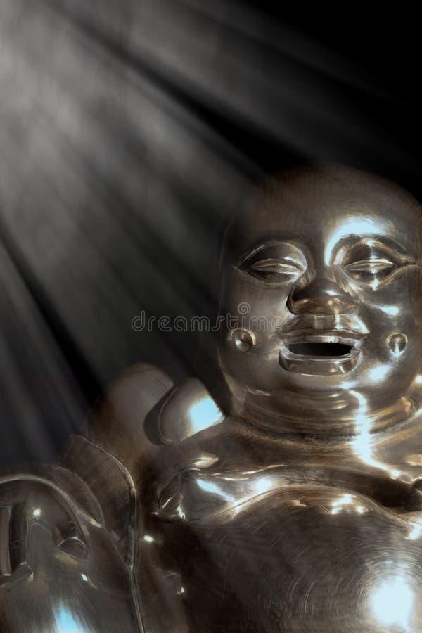 Buda iluminada Estátua de bronze da monge de riso iluminada imagens de stock royalty free