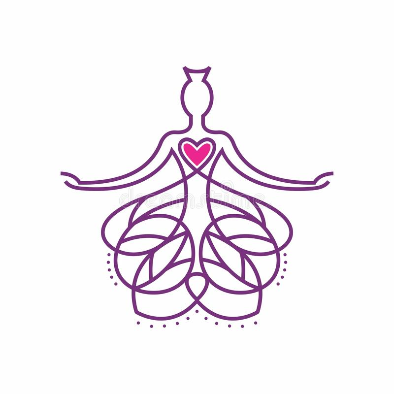 Buda Logo Design incorporado com postura do heartMeditation ilustração stock